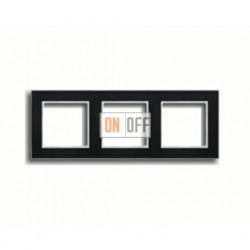 Рамка тройная, для горизон./вертик. монтажа Jung A Creation, черное стекло AC583GLSW