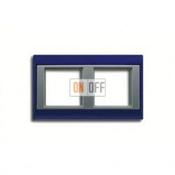 Рамка двойная, для горизон./вертик. монтажа Jung A Plus, синий-алюминий AP582BLAL