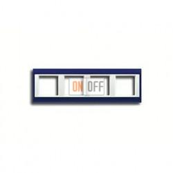 Рамка четверная, для горизон./вертик. монтажа Jung A Plus, синий-белый AP584BLWW