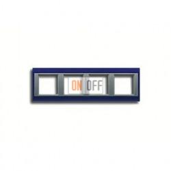 Рамка четверная, для горизон./вертик. монтажа Jung A Plus, синий-алюминий AP584BLAL