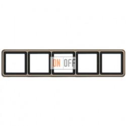 Рамка пятерная, горизонтальная/вертикальная, Jung CD 500, светлая бронза CD585GB