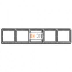 Рамка пятерная, горизонтальная/вертикальная, Jung CD 500, серый CD585GR