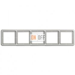 Рамка пятерная, горизонтальная/вертикальная, Jung CD 500, светло серый CD585LG