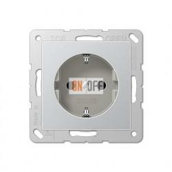 Розетка электрическая с заземлением 16А  Eco Profi, алюминий EP1420AL