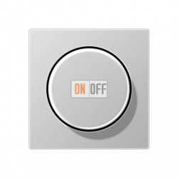 Светорегулятор поворотно нажимной для ламп накаливания и галогенных  20-360 Вт Eco Profi, алюминий 243EX - EP1540BFAL
