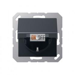 Розетка электрическая с заземлением, с крышкой, 250 В, 16 А, антрацит EP421KLAN