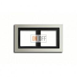 Рамка двойная, для горизон./вертик. монтажа Jung LS-design, нержавеющая сталь ESD2982