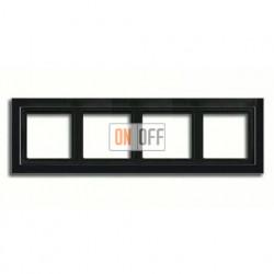 Рамка четверная, для горизон./вертик. монтажа Jung LS-design, черный глянцевый LSD984SW