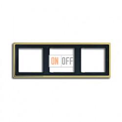 Рамка тройная, для горизон./вертик. монтажа Jung LS 990, золото go2983