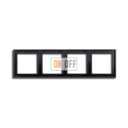 Рамка четверная, для горизон./вертик. монтажа Jung LS 990, черный глянцевый LS984SW