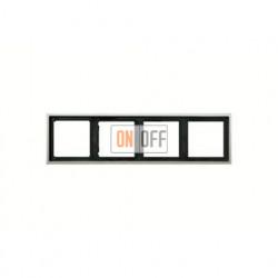 Рамка четверная, для горизон./вертик. монтажа Jung LS 990, нержавеющая сталь es2984