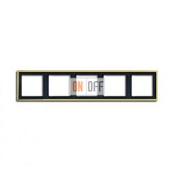 Рамка пятерная, для горизон./вертик. монтажа Jung LS 990, золото go2985