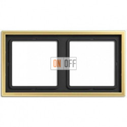 Рамка на 2 поста, горизонтальная/вертикальная, Jung LS 990, латунь классик ME2982C