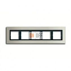 Рамка пятерная, для горизон./вертик. монтажа Jung LS Plus, нержавеющая сталь LSP985ES