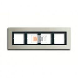Рамка четверная, для горизон./вертик. монтажа Jung LS Plus, нержавеющая сталь LSP984ES