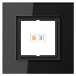 Рамка одинарная LS Plus черное стекло LSP981GLSW