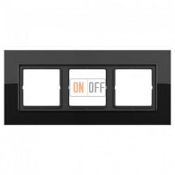 Рамка тройная LS Plus черное стекло LSP983GLSW