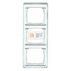 Рамка тройная, для вертикального монтажа Jung SL 500, стекло серебро sl583si