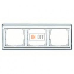 Рамка тройная, для горизонтального монтажа Jung SL 500, стекло серебро sl5830si