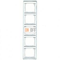 Рамка пятерная, для вертикального монтажа Jung SL 500, стекло серебро sl585si