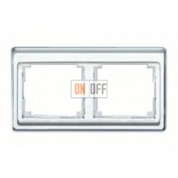 Рамка двойная, для горизонтального монтажа Jung SL 500, стекло серебро sl5820si