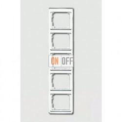 Рамка пятерная, для вертикального монтажа Jung SL 500, белое стекло sl585ww