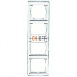 Рамка четверная, для вертикального монтажа Jung SL 500, стекло серебро sl584si