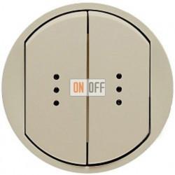Выключатель двухклавишный (универсальный) с подсветкой Legrand Celiane 10А  (слоновая кость) 66211 - 67686 - 67686 - 67001 - 67001 - 80251