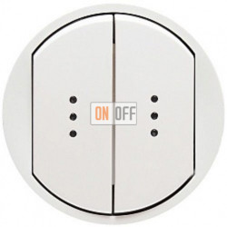 Выключатель двухклавишный (универсальный) с подсветкой Legrand Celiane 10А  (белый) 68004 - 67686 - 67686 - 67001 - 67001 - 80251