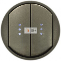 Выключатель двухклавишный (универсальный) с подсветкой Legrand Celiane 10А  (графит) 67904 - 67686 - 67686 - 67001 - 67001 - 80251