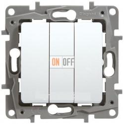 Выключатель трехклавишный на винтах 10АХ Etika Plus (белый) 672213