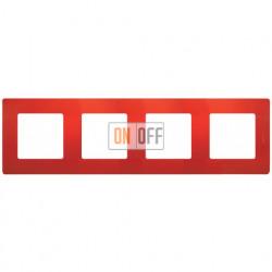 Четырехместная рамка Legrand Etika красная 672534