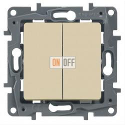 Выключатель двухклавишный с контурной подсветкой на винтах 10АХ Etika (слоновая кость) 672304