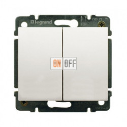 Выключатель двухклавишный, проходной (вкл/выкл с 2-х мест) с подсветкой 10А Legrand Galea Life (перламутр) 771579 - 775608