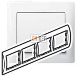 Рамка четверная, для горизонтального монтажа Legrand Galea Life, белый глянцевый 771004