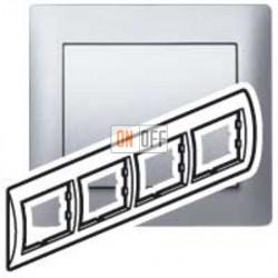 Рамка четверная, для горизонтального монтажа Legrand Galea Life, алюминий 771304
