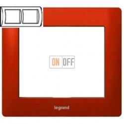 Рамка двойная, для горизонтального монтажа Legrand Galea Life, красный металл 771902