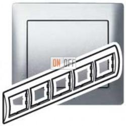 Рамка пятерная, для горизонтального монтажа Legrand Galea Life, шлифованный алюминий 771955