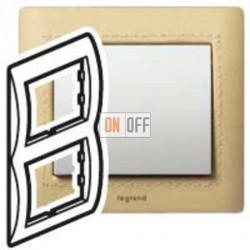 Рамка двойная, для вертикального монтажа Legrand Galea Life, светлая кожа 771993
