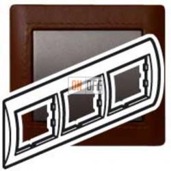 Рамка тройная, для горизонтального монтажа Legrand Galea Life, темная кожа 771997
