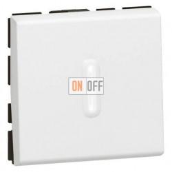 Выключатель одноклавишный Mosaic для управления с двух мест 10АХ с подсветкой (2 модуля) белый 77012 - 67686