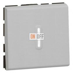 Выключатель Mosaic с подсветкой для управления с двух мест 10AХ (2 модуля) алюминий 79212 - 67686