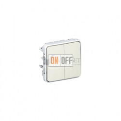 Двухклавишный выключатель-переключатель 10А IP55 Legrand Plexo, белый 69625