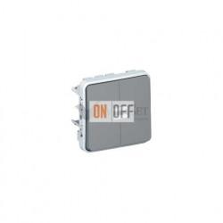Двухклавишный выключатель-переключатель с подсветкой 10А IP55 Legrand Plexo, серый 69526