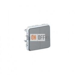 Двухклавишный выключатель-переключатель 10А IP55 Legrand Plexo, серый 69525