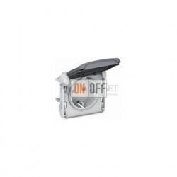 Розетка с/з с крышкой, безвинтовой зажим 16 A, 250 В IP55 Legrand Plexo, серый 69570