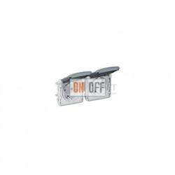 Блок горизонтальный из 2-х розеток с заземлением безвинтовой зажим 16 A, 250 В IP55 Legrand Plexo, серый 69576