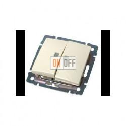 Выключатель двухклавишный проходной (с 2-х мест) с подсветкой, 10 А / 250 В~ кремовый глянцевый 774112