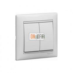 Выключатель двухклавишный проходной (с 2-х мест) с подсветкой, 10 А / 250 В~ белый глянец 774212