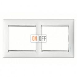 Рамка двойная, для горизонтального монтажа Legrand Valena, белый глянец/серебро 770492